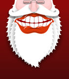 Jolly Santa Claus. Joyful grandfather with white beard. Broad sm Royalty Free Stock Photo