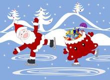 Jolly Santa Claus och påse med den celebratory skridskon för gåvor Fotografering för Bildbyråer