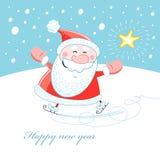 Jolly Santa Claus on skates Stock Photos