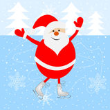 Jolly Santa Claus skating on the ice Royalty Free Stock Image