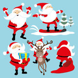 Jolly Santa Claus. Vector set on blue background, jolly Santa Claus royalty free illustration