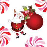 Jolly Santa with gifts and teddy. Peppermint candy for the ball on Santa's hat Stock Photos