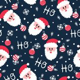 Jolly Santa Ho Ho Ho Christmas sömlös modell royaltyfri illustrationer