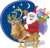 Jolly Santa riding a reindeer. Bag of gifts for ch Stock Images