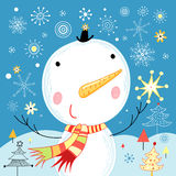 Jolly snowman Stock Photo