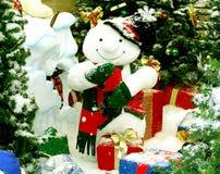 Jolly Snowman. Says hello at chritmas time Stock Photos
