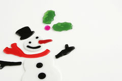 Jolly Snowman Background. Cheerful snowman with red scarf, carrot nose, and black hat on white background with copy space stock image
