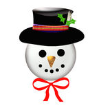 Jolly snowman face Stock Photography
