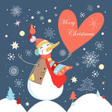 Jolly snowman with heart Royalty Free Stock Photos