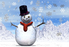Jolly snowman with snowflakes stock illustration
