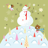 Jolly snowman and teddy bear Royalty Free Stock Photography
