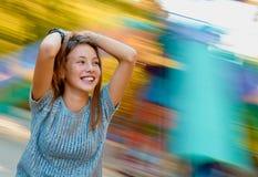 Jolly teen girl in autumn Stock Photos