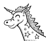 Jolly Unicorn Doodle Fotografia de Stock Royalty Free