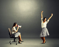 Jolly woman and screaming angry woman Royalty Free Stock Images