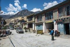 A narrow village street in a mountain village on April 9, 2018, stock photos