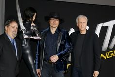 Jon Landau, Robert Rodriguez en James Cameron stock afbeelding