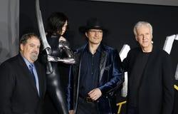 Jon Landau, Robert Rodriguez en James Cameron stock foto's