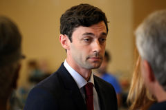 Jon Ossoff. Roswell, GA, USA - June 14, 2017: Jon Ossoff speaks to reporters and staff at a campaign office in Roswell, Georgia. Jon Ossoff is a candidate for US royalty free stock image