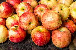 Jonagold apples on counter ready to use. Fresh Jonagold apples just picked on kitchen counter ready to process Stock Photo
