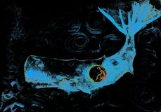 Jonah and the bright bleu whale in curly dark water.