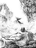 Jonah i wieloryb ilustracja wektor