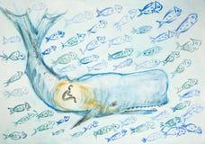 Jonah i wieloryb otaczający wiele ryba royalty ilustracja