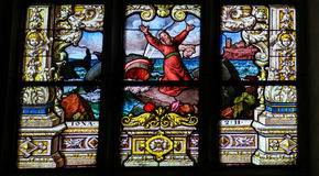 Jonah and the Whale - Stained Glass window Stock Image