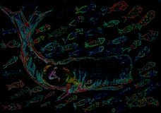 Jonah and the whale surrounded by many colorfull fishes during the night. The dabbing technique gives a soft focus effect due to the altered surface roughness Royalty Free Stock Photography