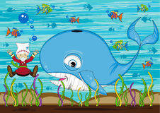 Jonah and the Whale. Vector Illustration of a Cute Cartoon Jonah and the Whale Bible Illustration Stock Photo