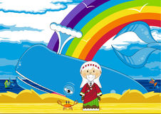 Jonah and the Whale. Vector Illustration of a Cute Cartoon Jonah and the Whale Bible Illustration Stock Image