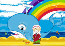 Jonah and the Whale. Vector Illustration of a Cute Cartoon Jonah and the Whale Bible Illustration Stock Images