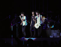 Jonas Brothers Rock Concert. Nick, Kevin and Joe, from the Jonas Brothers group, performing in Sao Paulo, Brazil Royalty Free Stock Images