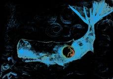 Jonas et la baleine lumineuse de bleu dans l'eau foncée bouclée illustration libre de droits