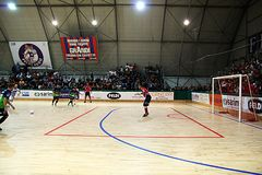 Jonas penalty. A penalty in the italian futsal match feldi eboli vs acqua & sapone Royalty Free Stock Photography
