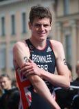 Jonathan Brownlee, der wartet, um die Goldmedaille zu empfangen Lizenzfreie Stockbilder