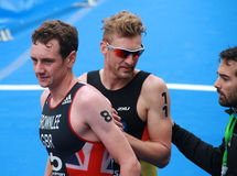 Jonathan Brownlee et Gregor Buchholz Photos stock