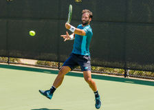 Jonathan Eysseric plays in qualifer at the Winston-Salem Open stock images