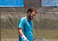 Jonathan Eysseric plays in qualifer at the Winston-Salem Open royalty free stock photography