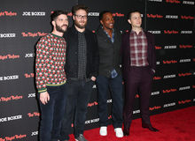 Jonathan Levine, Seth Rogen, Anthony Mackie, Joseph Gordon Levitt. NEW YORK-NOV 16: Director Jonathan Levine, actors Seth Rogen, Anthony Mackie and Joseph Gordon Stock Image