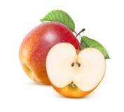 Jonathan rött äpple och halva som isoleras på vit royaltyfria bilder