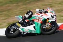Jonathan Rea GBR Honda CBR1000RR Castrol Honda i handling under Superbikeövningen i Imola Circuit royaltyfri fotografi
