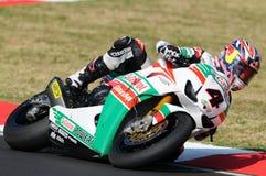 Jonathan Rea GBR Honda CBR1000RR Castrol Honda i handling under Superbikeövningen i Imola Circuit arkivbilder