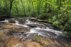 Jonathan Run in the Pennsylvania Wood. A beautiful creek flows through the summer woods of Jonathan Run in Ohiopyle State Park, Pennsylvania royalty free stock photo