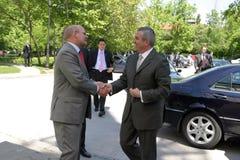 Jonathan Scheele en Calin Popescu Tariceanu Stock Fotografie