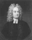 Jonathan Swift. (1667-1745) on engraving from the 1800s. Irish satirist, essayist, political pamphleteer, poet and cleric. Engraved by B. Hall and published in royalty free stock photo