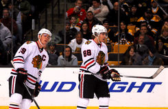 Jonathan Toews and Patrick Kane (Blackhawks). Chicago Blackhawks forwards Jonathan Toews (19) and Patrick Kane (88 royalty free stock photos