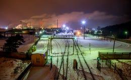 Jonava Achema factory. Near Achema factory train at night Lithuania Royalty Free Stock Images