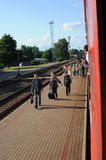 JONAVA, LITHUANIA - JUNE 26, 2011: Lithuania Railway Network and Track. Going on Fast Train. Approaching To Station Stock Photo