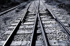 Jonction de chemin de fer - noir et blanc Photographie stock libre de droits