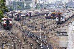 jonction de chemins de fer de scène de station de trains de Bangkok Photo libre de droits